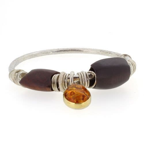Amber bangle large cabochon silver and gold handmade with wooden beads 4mm rod